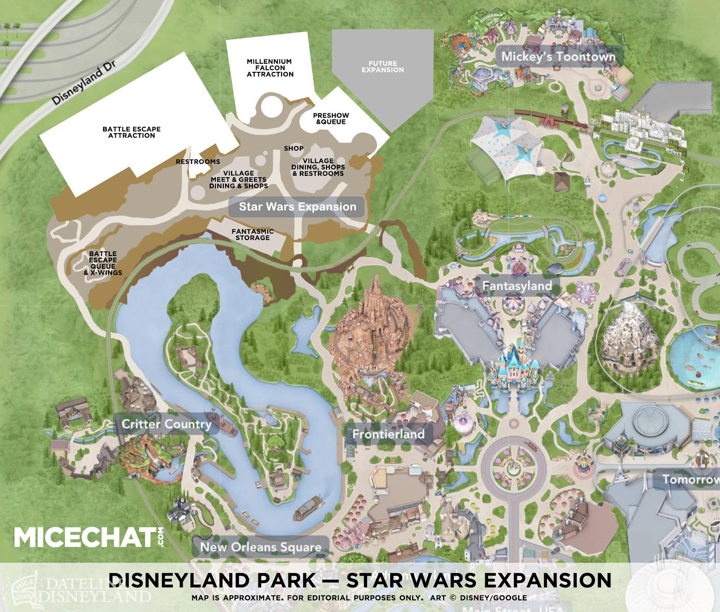 MiceChat Disneyland Resort Features Star Wars Land News - Disneyland usa location map